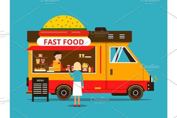 Cartoon Illustration Of Food Truck With Images Food Truck