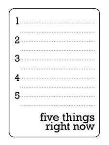 Free Five Things Journal Card from Simple Scrapper