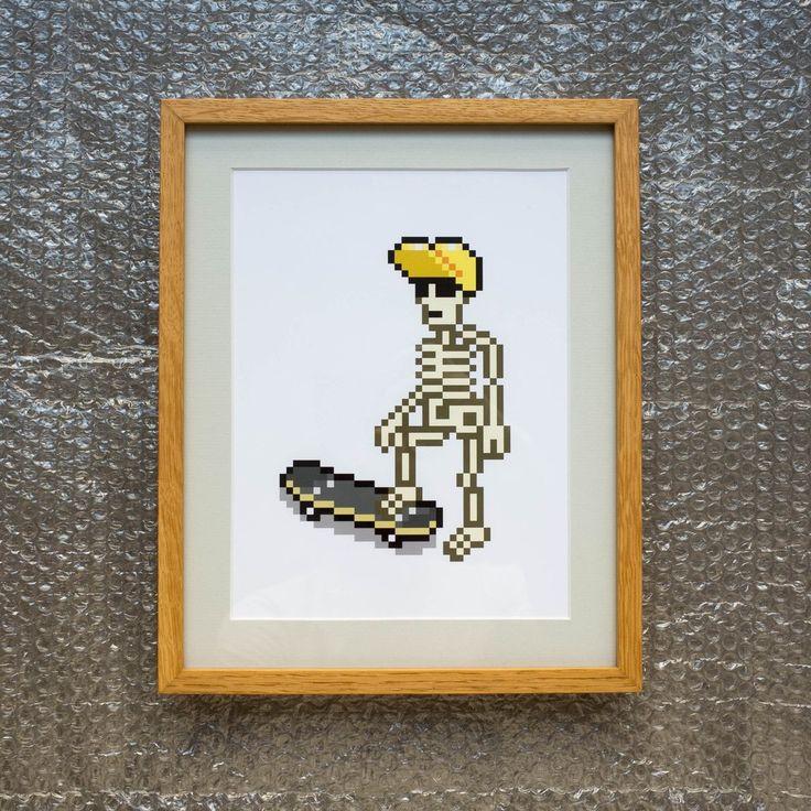 Skeleton Skater Art Print