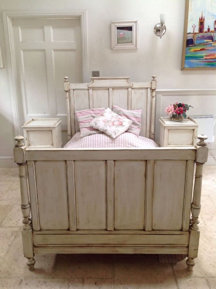 charming rustic antique french large single bed lovely cream painted antique bed in very good used