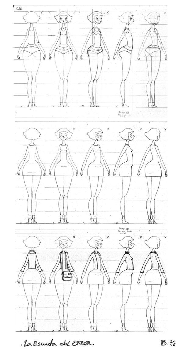Diseño de personaje para La Escuela del Error. Búsqueda en lápiz, Elhi.