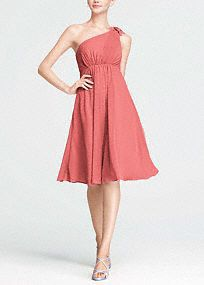 Short, sassy and fabulous! Your bridesmaid will look sensational on your special day!  One shoulder bodice features gorgeous chiffonpetal detail on shoulder for a feminine touch.  Empire waist features comfortable elastic band which also helps create a stunning silhouette.  Fully lined. Side zip. Imported polyester. Dry clean.  Sizes and colors are available in limited stores and with limited availability.