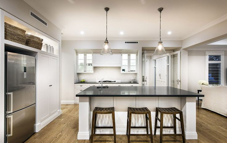 Hamptons style kitchen with pendant lights - Oswald Homes