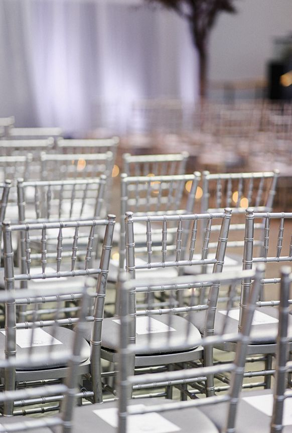 Silver Wedding Theme Ceremony Chair Decorations
