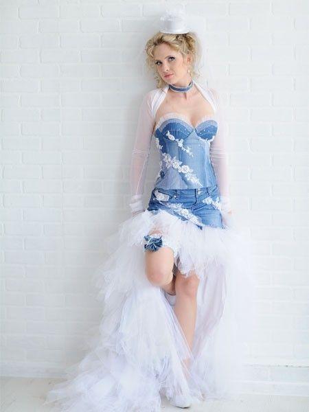 Красивый образ невесты для джинсовой свадьбы