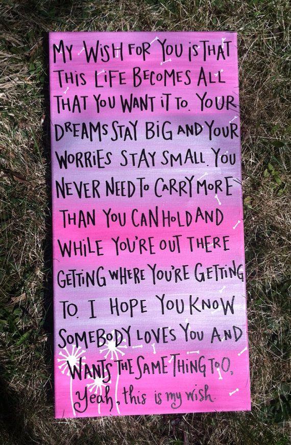 My Wish Lyrics Custom Canvas by CustomizedByCristina on Etsy