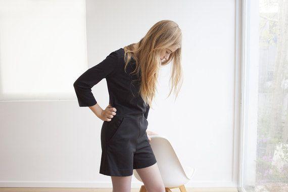 woman trendy black jumpsuit long sleeve by ShiruettoFashion
