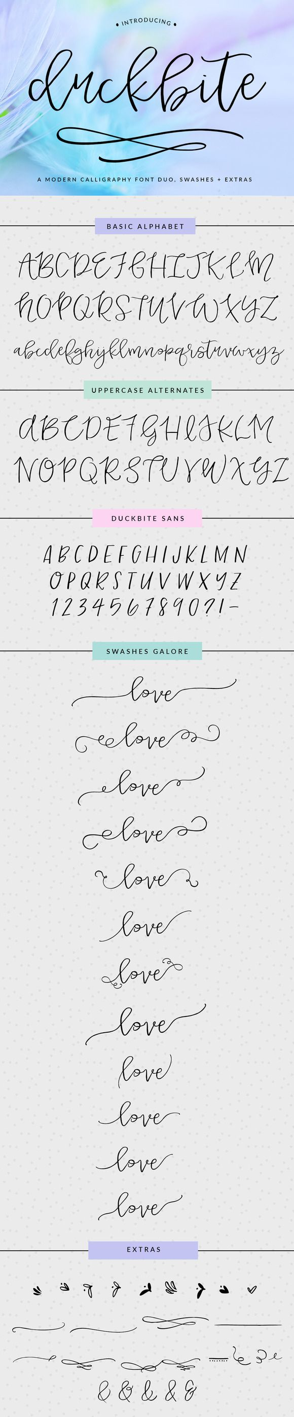 Duckbite – A modern calligraphy typeface duo with a host of swashes and extras