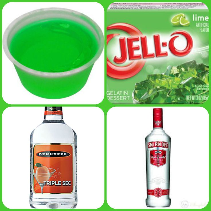 Kamakazi Jello Shots  1 package lime Jell-o 1 cup boiling water 1/4 cup cold water 1/2 cup Triple Sec 1/4 cup vodka 1. Mix jello and boiling water together until jello is desolved. 2. Stir in cold water, Triple Sec and vodka. 3 pour mixture into 1 or 2 ounce cups with lids or disposable shot glasses and refrigerate until firm.
