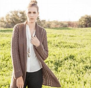 Free Crochet Pattern - Gorgeous Cappuccino colored long ladies cardigan, crocheted with African Expressions HARMONY Aran weight yarn. Suitable for any age group.