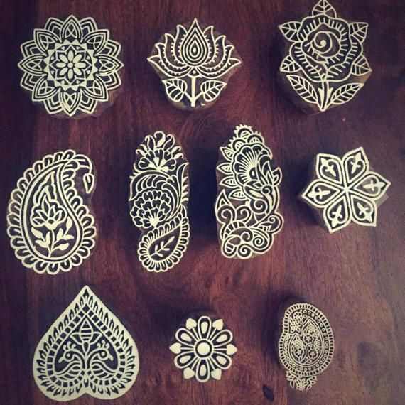 Original Printing Block Brass Peacock Pattern Wooden Clay Stamp