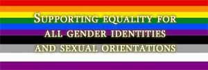 "rainbow and asexual colours with text ""supporting equality for all genders and sexualities"""
