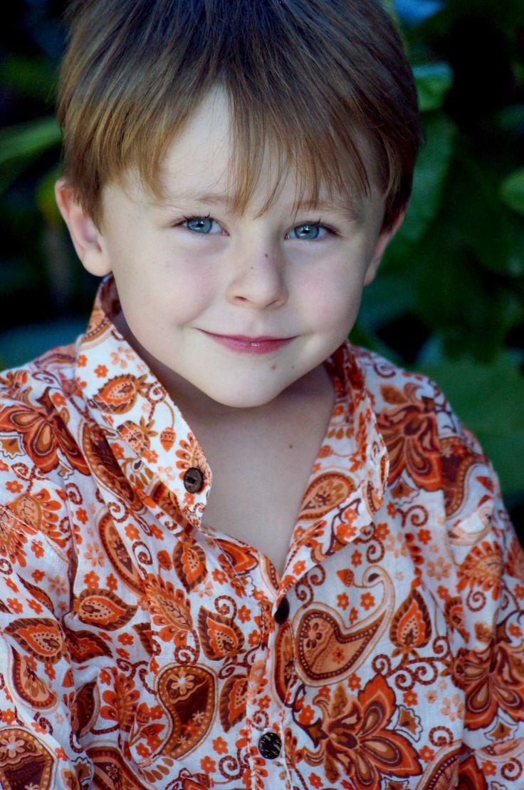 Children's Mandarin Collar Cotton Shirt - orange paisley |