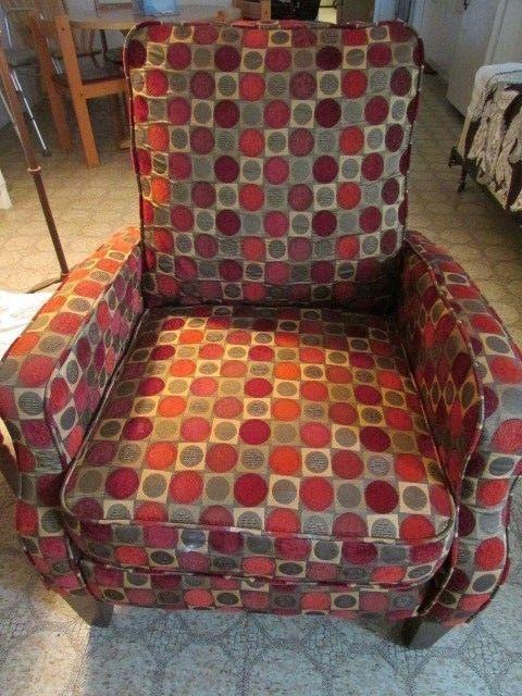 """Petite Rocker Reclining Rocking Chair Multi Color With Dots Fabric 36"""" tall  #reclinerrocker #recliningchair #chair #furniture #dandeepop Find me at dandeepop.com"""