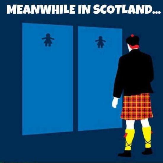 Funny photos scottish toilet dilemma scottish kilt for Funny bathroom photos