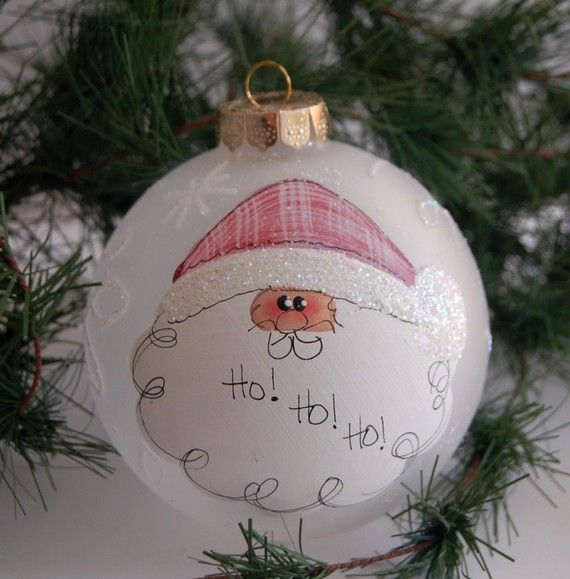 Hand painted santa ornament personalized free 4 diameter for Painted glass ornaments crafts
