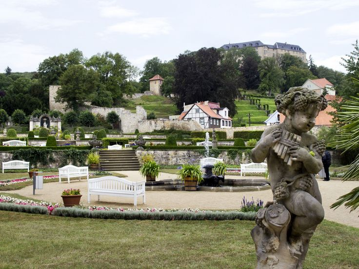 New Terraced gardens hill gardens upper right and castle The baroque terraced gardens of Schloss Blankenburg in the foothills of the Harz is a