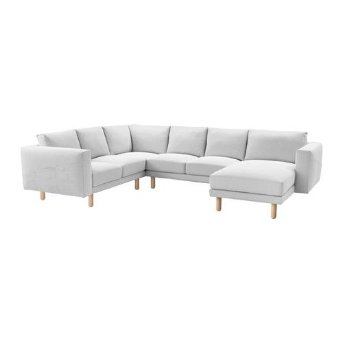 IKEA - NORSBORG, Loveseat with chaise, Finnsta white, birch, , Big or small, colorful or neutral. The sofa comes in many shapes, styles, and sizes so that you can easily find one that suits you and your family.A soft and comfortable sofa filled with high resilience foam that supports your body and quickly regains its shape when you stand up.Slightly higher armrests make it extra comfortable to curl up in the corner of the sofa.The cover is easy to keep clean as it is removable.The legs are…