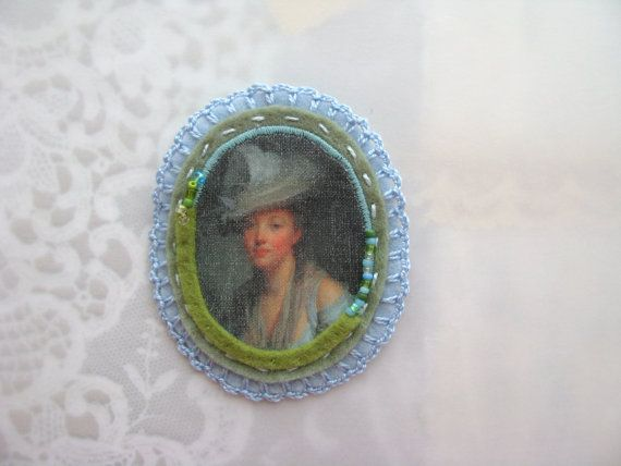 SALE - cameo brooch - lady with hat - pale blue and seafoam green felt - free shipping - gift for her - museum painting brooch