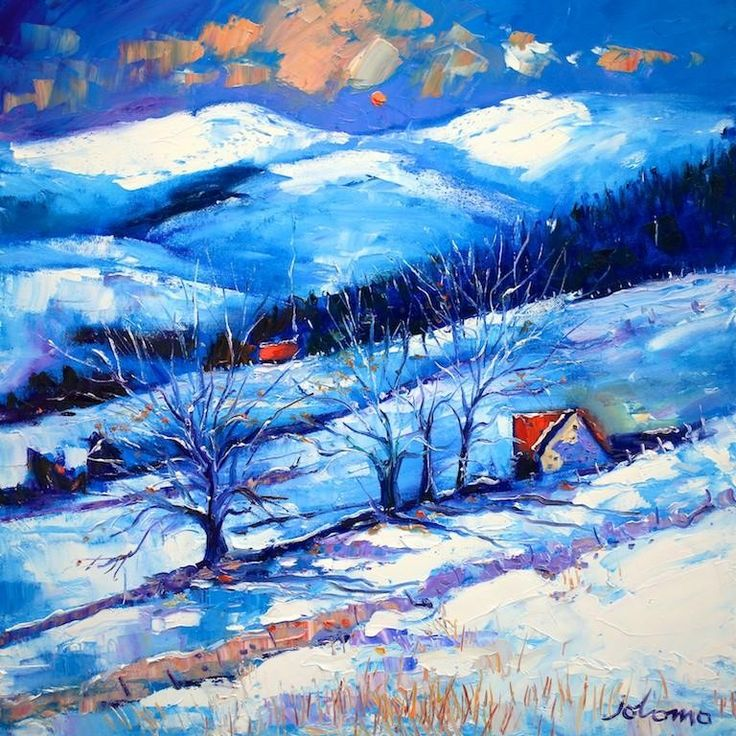 Scottish Artist Jolomo ~ Heavy Snowfall at Glen Prosen