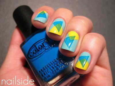 : Abstract Nails, Nails Art, Art Ideas, Geometric Nails, Nails Ideas, 80S Nails, Nails Polish, Geometric Nailart, Geometric Shape