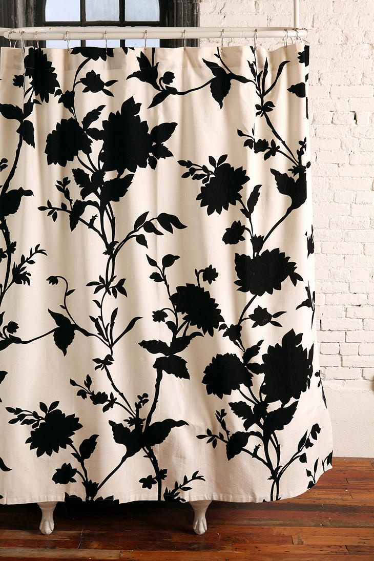 Black And White Flower Shower Curtain. silhouette flower shower curtain  trying to get ideas for bathroom with clawfoot tub Best 25 Cream curtains on Pinterest Tan