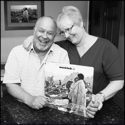 Nick and Bobbie Ercoline were dating at the time of the Woodstock concert in 1969 and didn't know their photo was being taken. Later they got married and have been together for over 40 years and are now proud grandparents. Their photo, which appeared on the cover of the Woodstock album, defined their generation. (Gerontologist cover photo; April 2012)