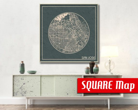 SAN JOSE ca SQUARE Map San Jose California Poster by ArchTravel