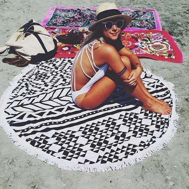 Geometric Black and White Beach Blanket Yoga Tapestry