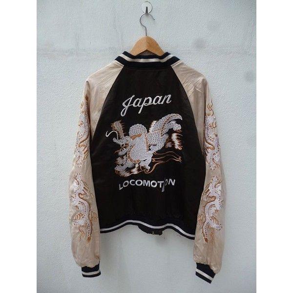Vintage 60s 70s Japan LOCOMOTION Dragon Yokosuka Embroidery Satin... ❤ liked on Polyvore featuring outerwear, jackets, vintage jackets, dragon jacket, embroidered bomber jacket, flight jacket and satin jackets