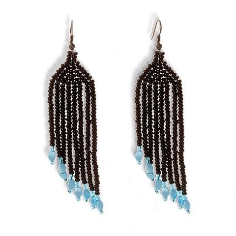 Handmade Beaded Black Turquoise Shimmering Long Earrings