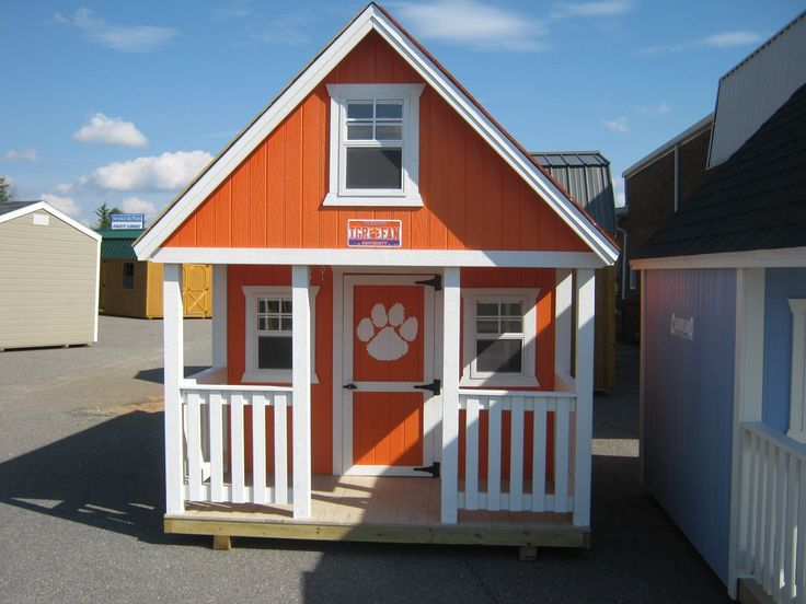 A Sheds Direct Playhouse in Clemson Orange!