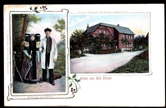 Ansichtskarte / Postkarte Bad Eilsen im Kreis Schaumburg, Drogerie Pension Heinrich Voigt, Tracht #westerten
