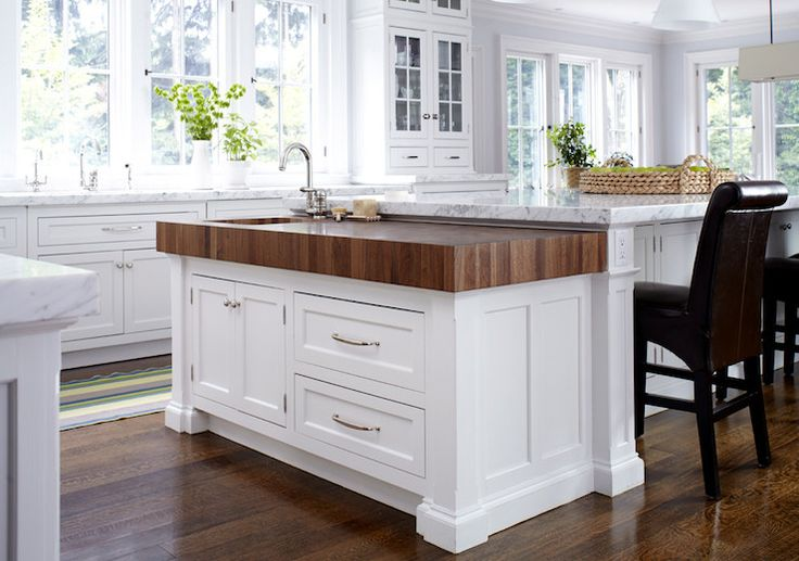 gioia marble thick butcher block island kitchen