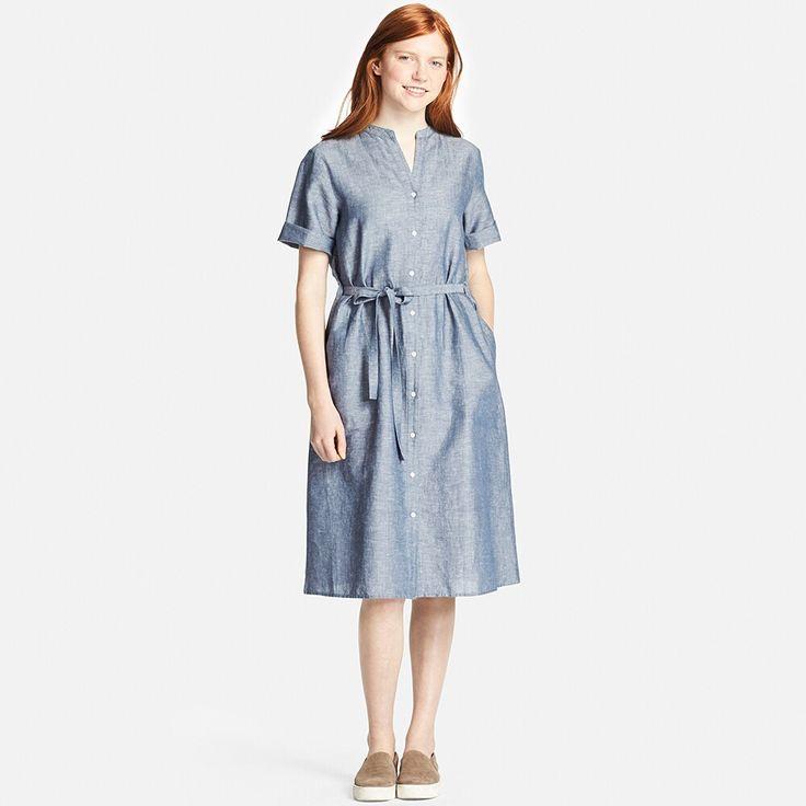 UNIQLO WOMEN LINEN COTTON SHORT SLEEVE SHIRT DRESS