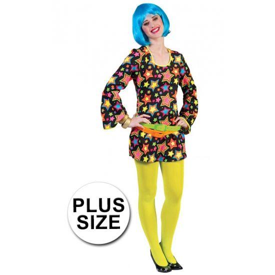 Grote maat funky disco jurk met sterren. Zwarte korte damesjurk met felgekleurde sterren erop.