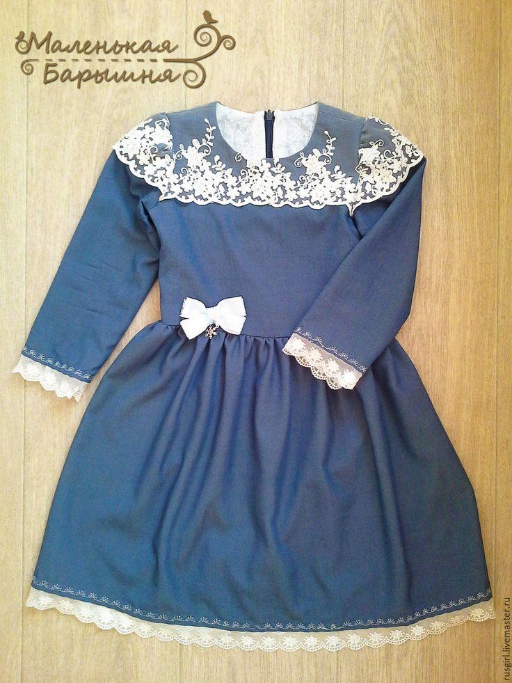 """Платье """"Верочка"""" для девочки - джинсовое платье с кружевом расшитое бусинами."""
