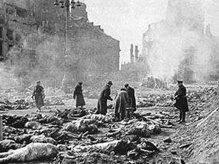 Dresden, Germany after Allied bombing during WWII.