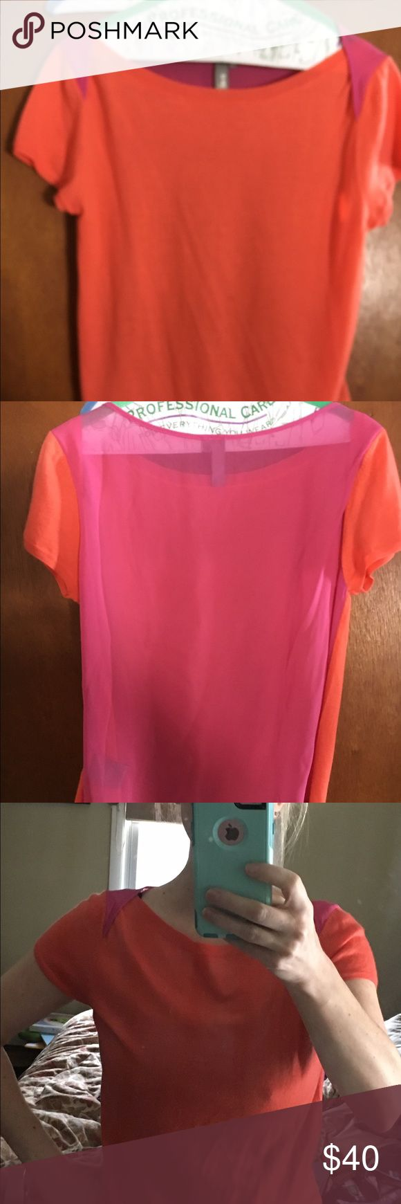 Shae tangerine and pink short sleeve top Super cute!! Tangerine cashmere paired with beautiful pink silk back and shoulders size medium - new purchase and coornwas not good on me outside of boutique and could not return shae Sweaters Crew & Scoop Necks