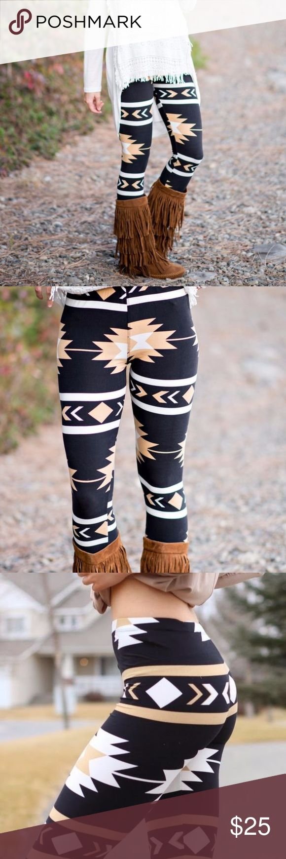 Golden Navajo Aztec Print Leggings Trending! Golden Yellow, Black and White  Two compositions of premium fabric; 92% Polyester and 8% Spandex These are one size fits all sizing. They are super stretchy in one size fits all in size range Regular size leggings cover from 0 to 12, plus size leggings cover from 14 to 24. Fits mid natural waist   Boutique items come NWOT, direct from makers :)   Available in other color options in my closet! *CURRENTLY SOLD OUT OF PLUS SIZE IN THIS GOLD COLOR…