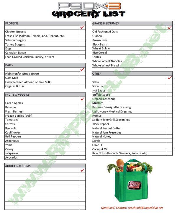 p90x3 grocery list