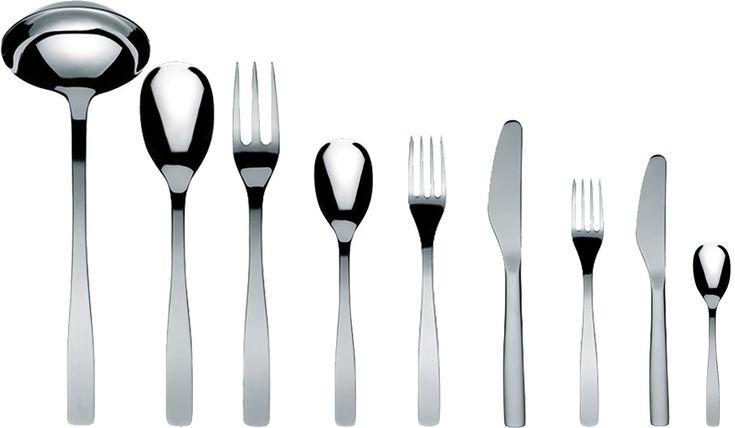 "A Di Alessi ""Knifeforkspoon"" 75-Piece Set, Includes Twelve Table Knives Monoblock and Twelve Dessert Knives Monoblock, Mirror Polish"