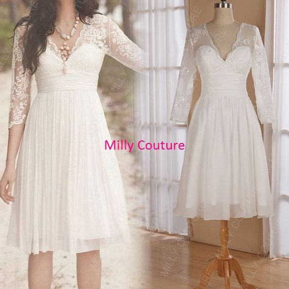 Sapphire Bridal Vintage Wedding Dress 3 4 Sleeve White: Lace Short Bridesmaid Dress With 3/4 Sleeves, Knee Length