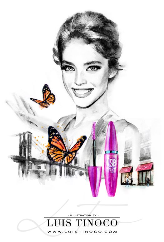 "MAYBELLINE NYC GUIDE 2014 ""BCKSTG"" Emily Didonato Portrait ILLUSTRATION by LUIS TINOCO http://www.luistinoco.com/"