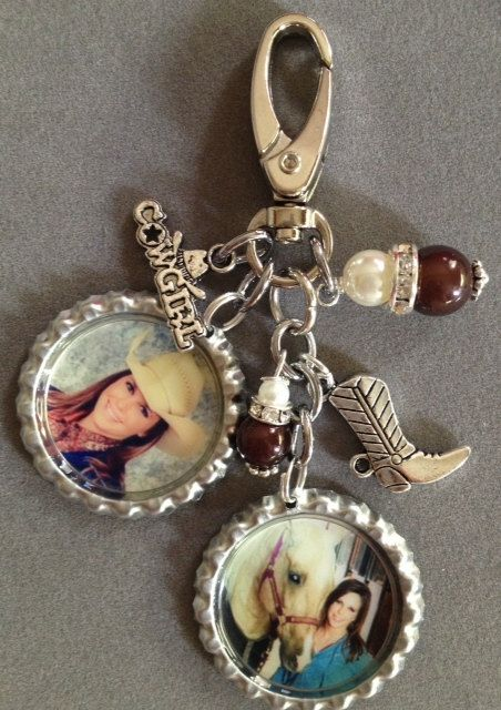 CUSTOM PHOTO purse charm bottle cap horse cowgirl by KeyChainBling, $28.00