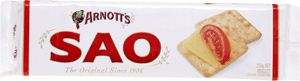 Arnott's Sao Biscuits 250g. Arnott's world famous cream cracker. Great cracker with any topping.