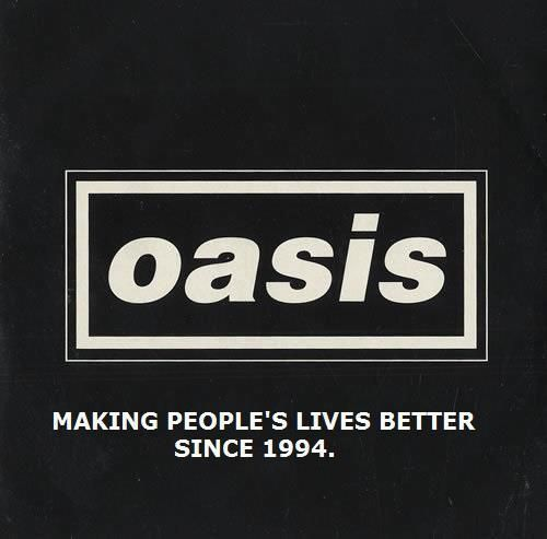 Oasis band logo. Simple binary opposite colours with a bold font represent the band's no-nonsense substance over style attitude.
