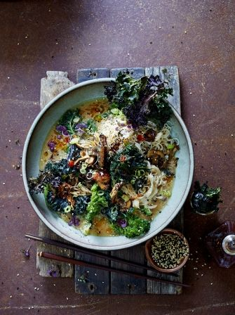 Why not try Jamie Oliver's Super Noodle Ramen with Kale and Barbecue mushrooms, bursting with flavour it is the only vegetarian ramen recipe you will need.
