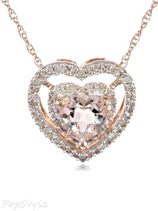 Diamond Morganite Heart Necklace perfect for Valentines Day - give him the hint!