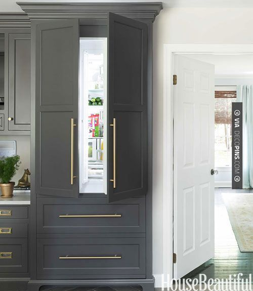 So neat! - Kitchen Dreams. Swirling grays and gleaming brass warm up a classic white kitchen. Interior Designer: Caitlin Wilson. Freedom Collection refrigerator by Thermador. | CHECK OUT MORE KITCHEN CABINET IDEAS AT DECOPINS.COM | #kitchencabinets #kitchen #cabinet #kitchencabinet #kitchencabinets #kitchenstorage #pantry #pantries #storage #antiquecabinet #bluecabinet #purplecabinet #pinkcabinet #blackcabinet #whitecabinet #redcabinet #greencabinet #yellowcabinet
